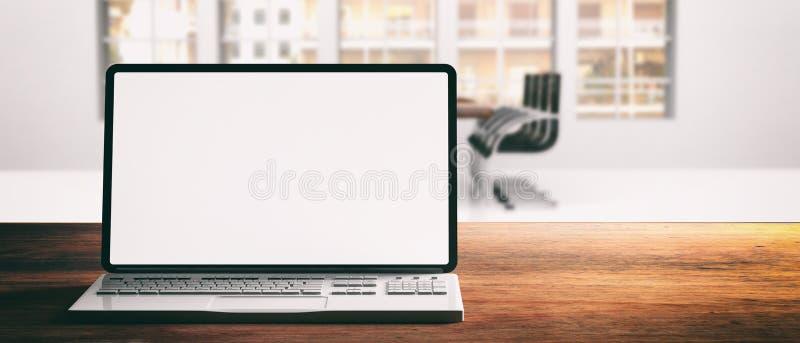 Komputerowy laptop z pustym ekranem na drewnianym biurku, plamy biurowy tło, sztandar ilustracja wektor