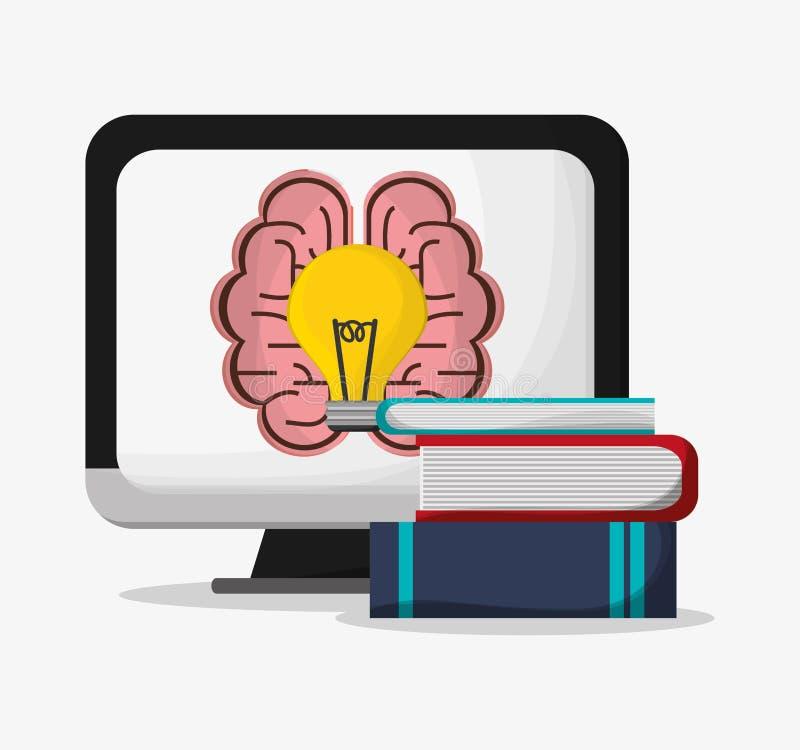 Komputerowy móżdżkowy żarówki i książek projekt royalty ilustracja