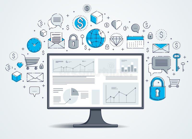 Komputerowy monitor z statystyki infographics i setem ikony, online biznes, internet?w elektroniczni finanse ilustracji