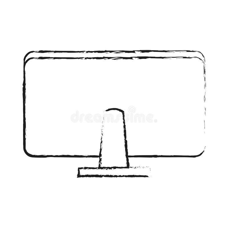 komputerowy monitoru rearview biurowych dostaw ikony wizerunek ilustracja wektor
