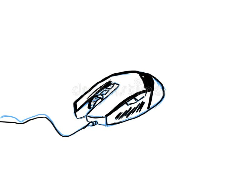 Komputerowy myszy ręki rysunek na białym tle zdjęcia royalty free