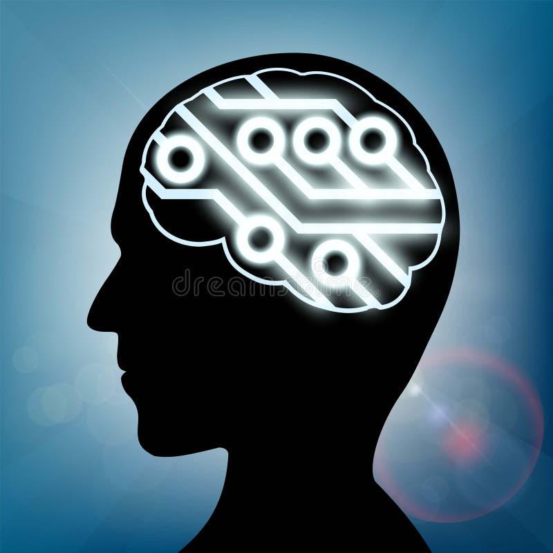 Komputerowy obwód wśrodku ludzkiej głowy ilustracja wektor