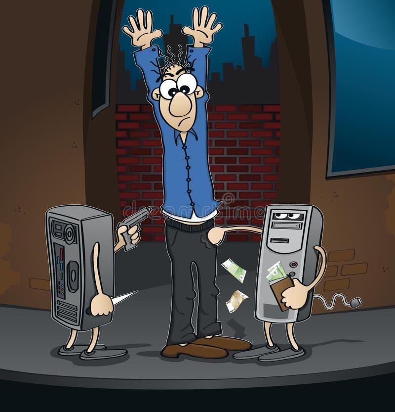 Komputerowy przestępstwo przy ciemnym kątem internet - royalty ilustracja