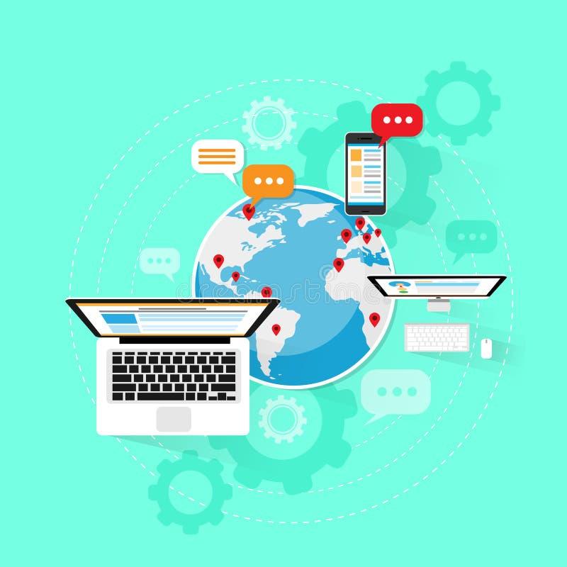 Komputerowy przyrządu interneta sieci związku laptop ilustracji