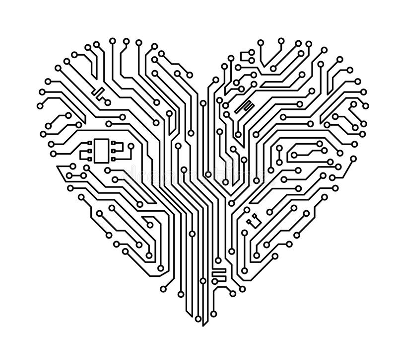 komputerowy serce royalty ilustracja