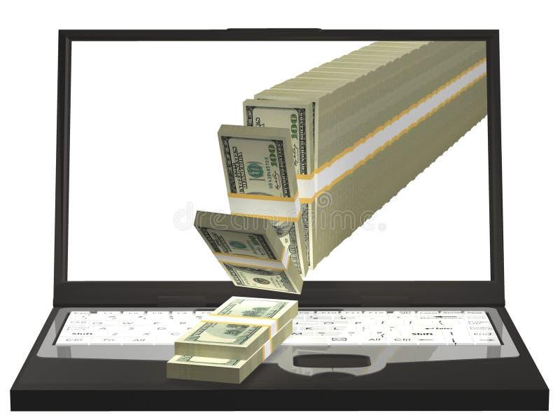 komputerowy target1165_1_ pieniądze komputerowy notatnik ilustracja 3 d obraz royalty free