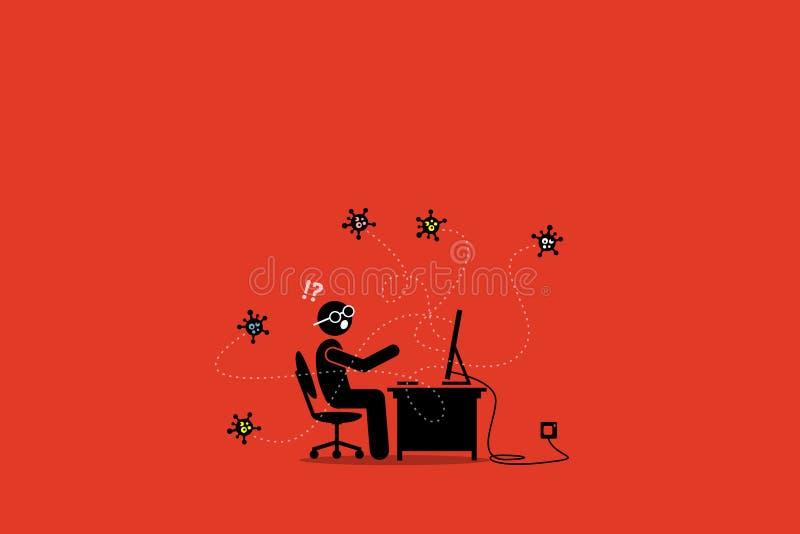 Komputerowy wirus infekuje desktop royalty ilustracja