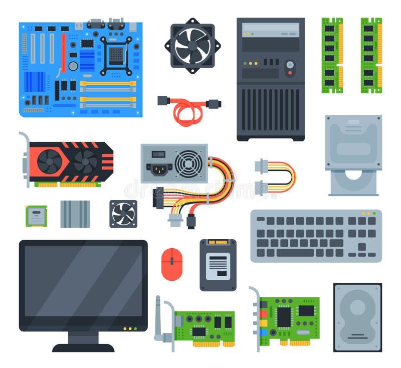 Komputerowych akcesoriów komputeru osobistego wyposażenia płyty głównej pamięć i klawiatury ilustracja oblicza set odizolowywając ilustracja wektor