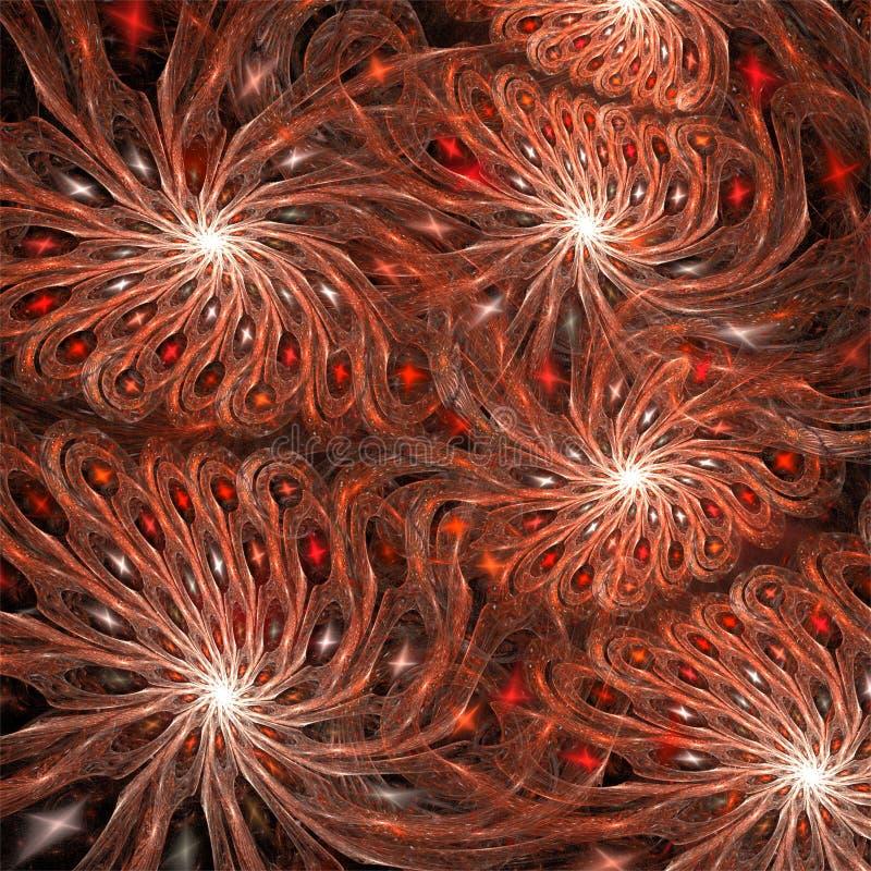 Komputerowych cyfrowych fractal sztuki abstrakcjonistycznych factals jaskrawa czerwona śmieszna fantastyczna spirala kwitnie ilustracja wektor