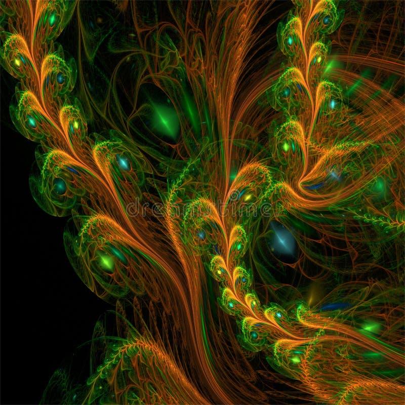Komputerowych cyfrowych fractal sztuki abstrakcjonistycznych factals lasu fantastyczne rośliny royalty ilustracja
