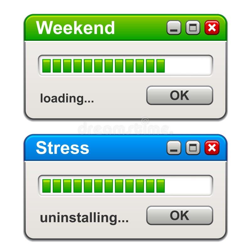 Komputerowych okno ładowania stresu weekendowy uninstalling ilustracja wektor