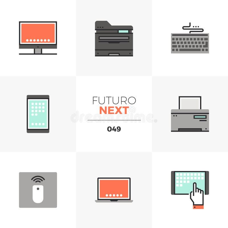 Komputerowych przyrządów Futuro Następne ikony ilustracja wektor