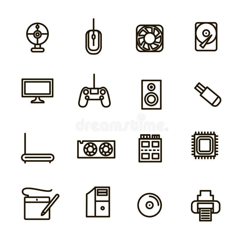Komputerowych składników znaków czerni ikony Cienki Kreskowy set wektor ilustracji