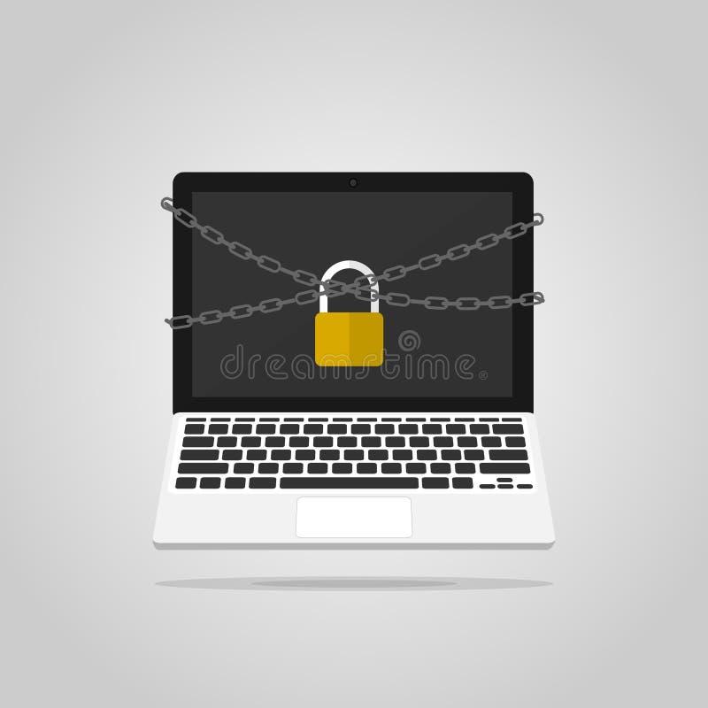 Komputeru łańcuchu kędziorka ochrona, kilofa komputeru wektor ilustracja wektor