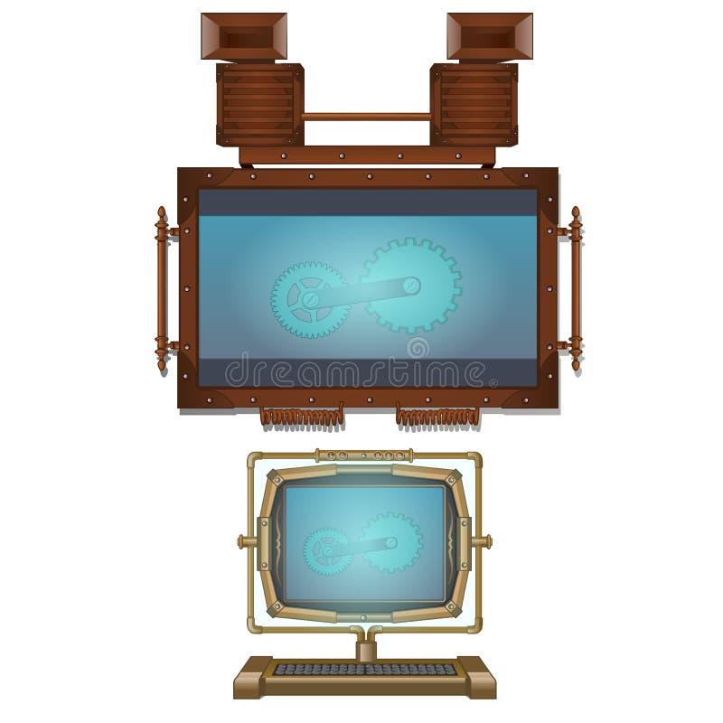 Komputeru i ściany monitor w rocznika stylu ilustracja wektor