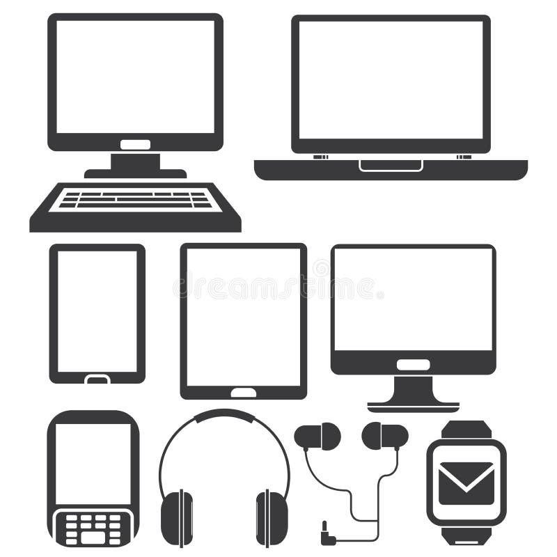 Komputeru i telefonu ikony ilustracja wektor