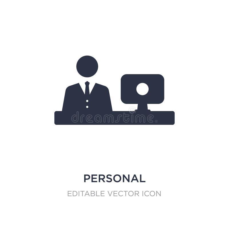 komputeru osobistego i pracownika ikona na białym tle Prosta element ilustracja od Komputerowego pojęcia royalty ilustracja