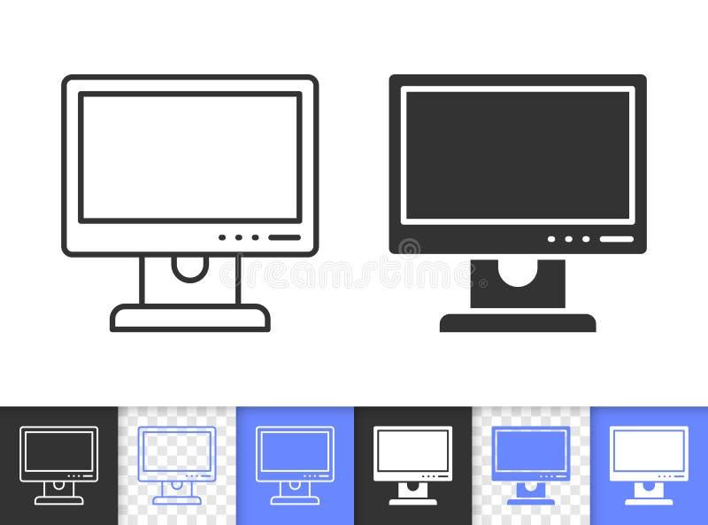 Komputeru osobistego monitoru czerni linii wektoru prosta ikona ilustracja wektor