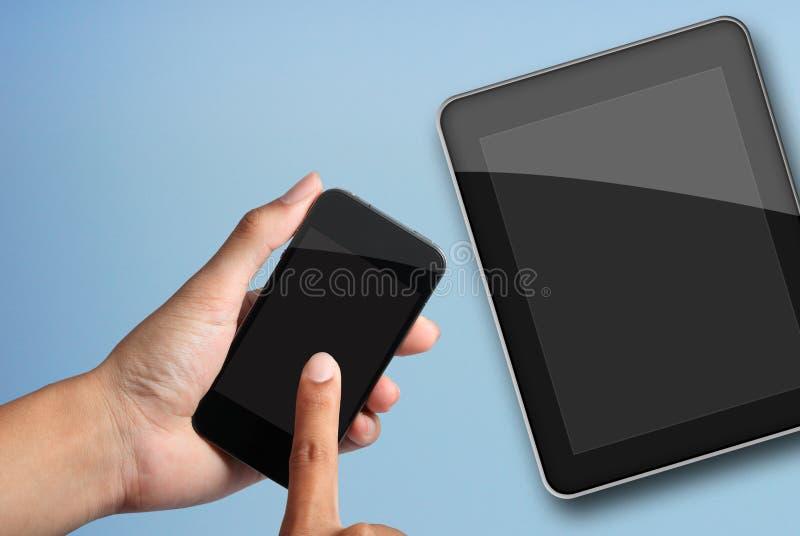 komputeru osobisty telefonu ekranu mądrze pastylka target2443_0_ obraz stock