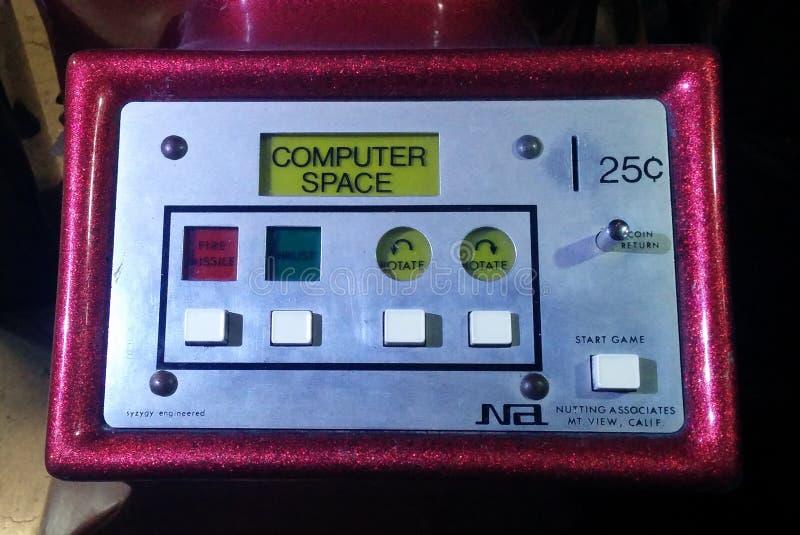 Komputeru pulpitu operatora najpierw Astronautyczna op wideo gra obrazy stock