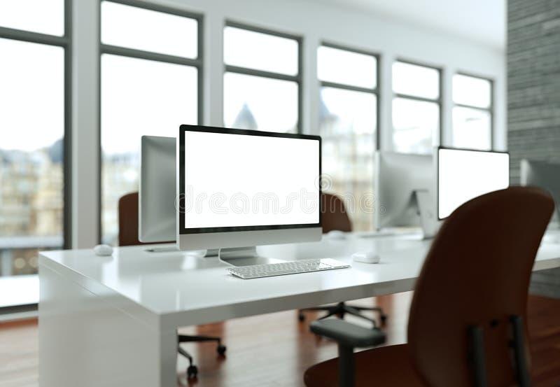 Komputeru Stacjonarnego egzamin próbny z bielu ekranu stojakami na Biurowym biurku ilustracji