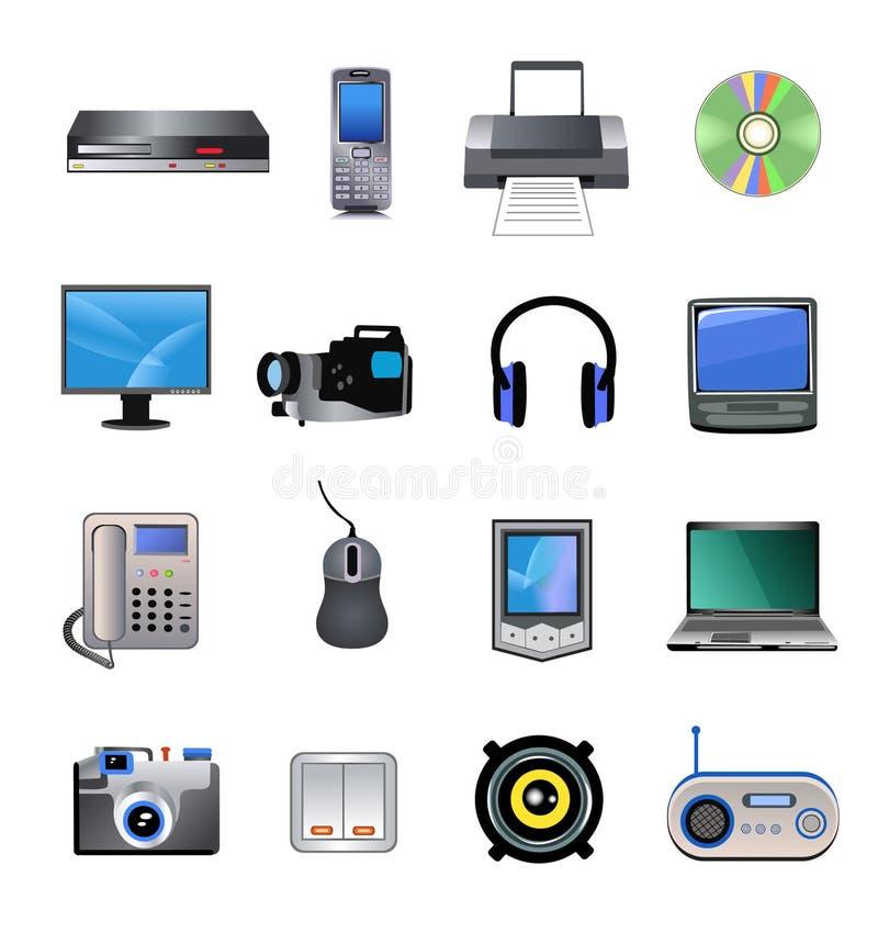 Komputery i elektronika ikony ilustracji