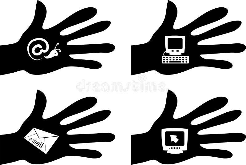 komputery pod ręką ilustracji