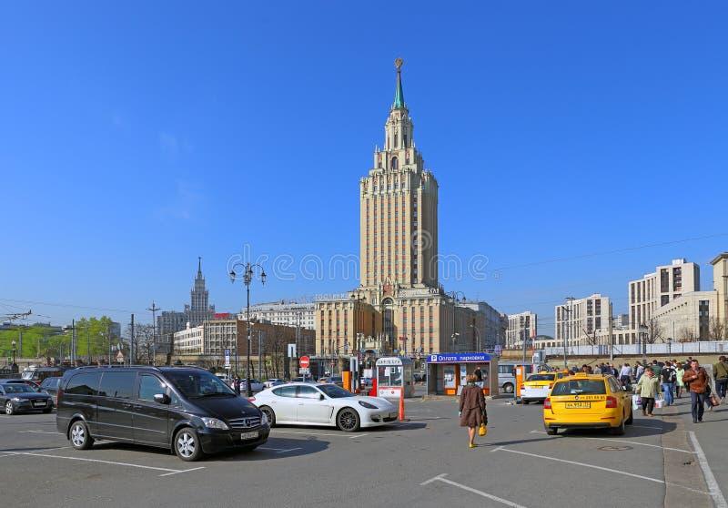 Komsomolskaya square and hotel Leningradskaya In Moscow stock photo