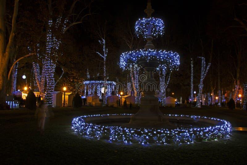Komst in het park van Zagreb - Zrinjevac-door Kerstmislichten dat wordt verfraaid stock fotografie