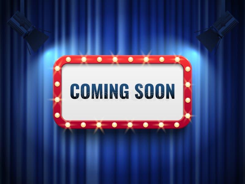 Komst spoedig achtergrond speciaal aankondigingsconcept met blauwe gordijnen, schijnwerpers en licht markttentteken Vector royalty-vrije illustratie