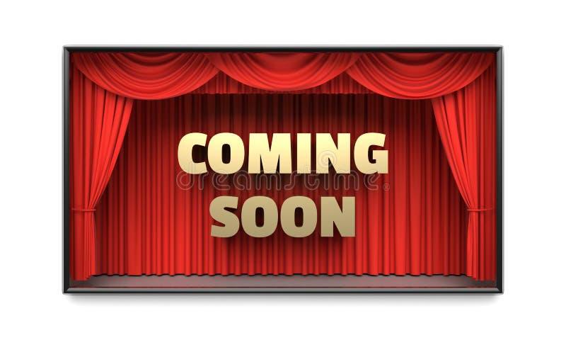 Komst spoedig affiche met de rode 3D illustratie van stadiumgordijnen stock foto's