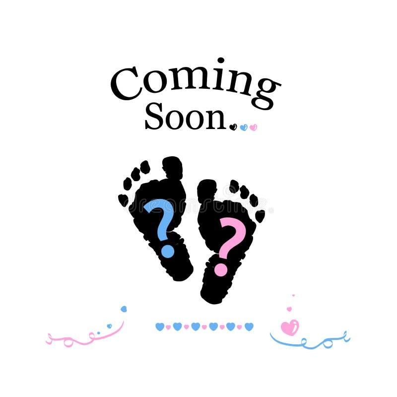 Komst spoedig baby Het babygeslacht openbaart symbool Meisje, jongen en tweelingbabysymbool stock illustratie
