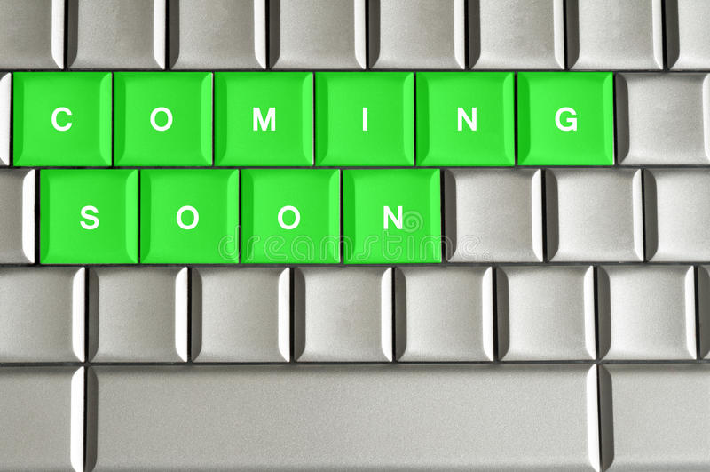 Komst spoedig gespeld op een metaaltoetsenbord vector illustratie