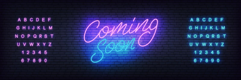Komst spoedig neon het vector van letters voorzien Gloeiend licht helder teken voor marketing, reclame of bevordering vector illustratie