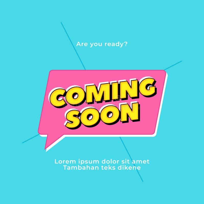 Komst spoedig vectortekst Pop ontwerp van de stijltypografie voor gedrukte affichekrantekop of websitebanner vector illustratie