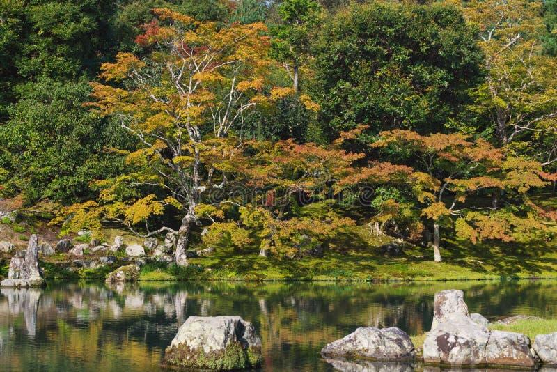 Komst van de herfst, kleurrijk bomenseizoen veranderde in Ginkaku -ginkaku-ji tempel, beroemde reisbestemming in Kyoto Japan royalty-vrije stock foto's