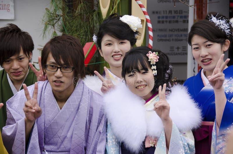 Komst van de viering van de leeftijdsdag in Japan stock afbeeldingen