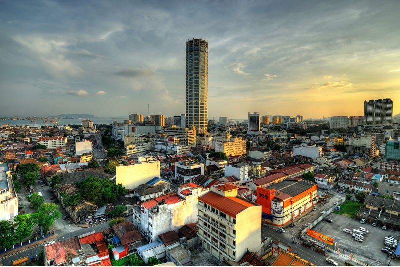 Komtar, Georgetown, Penang, Maleisië in HDR stock foto's