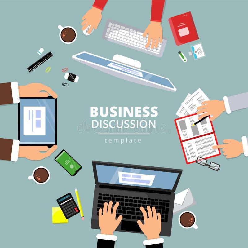 Komunikacja biznesowa odgórny widok Finansowego planowania dialog między kierownika biura rzeczy książek laptopu zawiadomieniem t ilustracja wektor