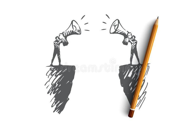 Komunikacja, ludzie, dwa, rozmowa, megafonu pojęcie Ręka rysujący odosobniony wektor ilustracja wektor