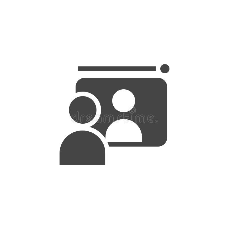 Komunikacja między dwa ludźmi przez komputeru Dystansowy uczenie, biznes, online wideo konsultaci mieszkania ikona ilustracji
