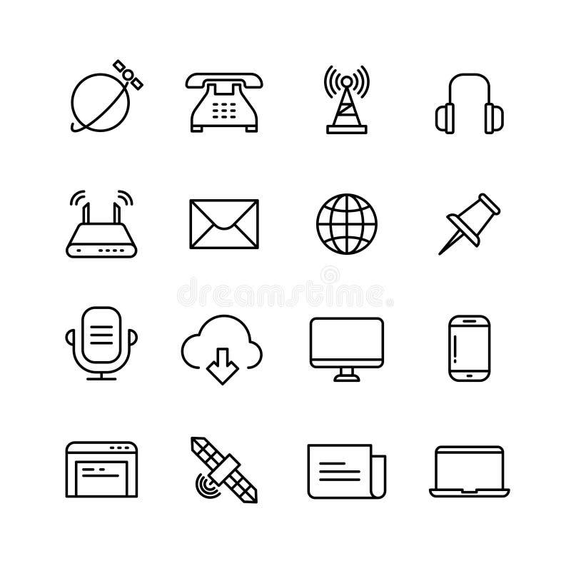 Komunikacja, monitorowanie, telefonu marketing i sieć wektor, wykładamy ikony ilustracja wektor