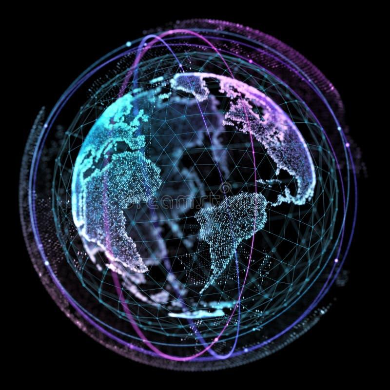 Komunikacja w ogólnospołecznej sieci bez granic Związek wykłada Wokoło Ziemskiej kuli ziemskiej tła binarnego kodu pojęcia grupy  ilustracji