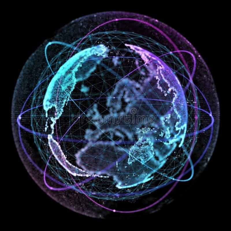 Komunikacja w ogólnospołecznej sieci bez granic Związek wykłada Wokoło Ziemskiej kuli ziemskiej tła binarnego kodu pojęcia grupy  royalty ilustracja