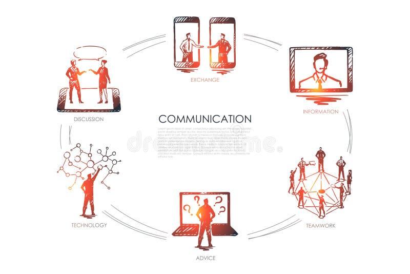 Komunikacja - wymiana, informacja, praca zespołowa, rada, technologii ustalony pojęcie royalty ilustracja