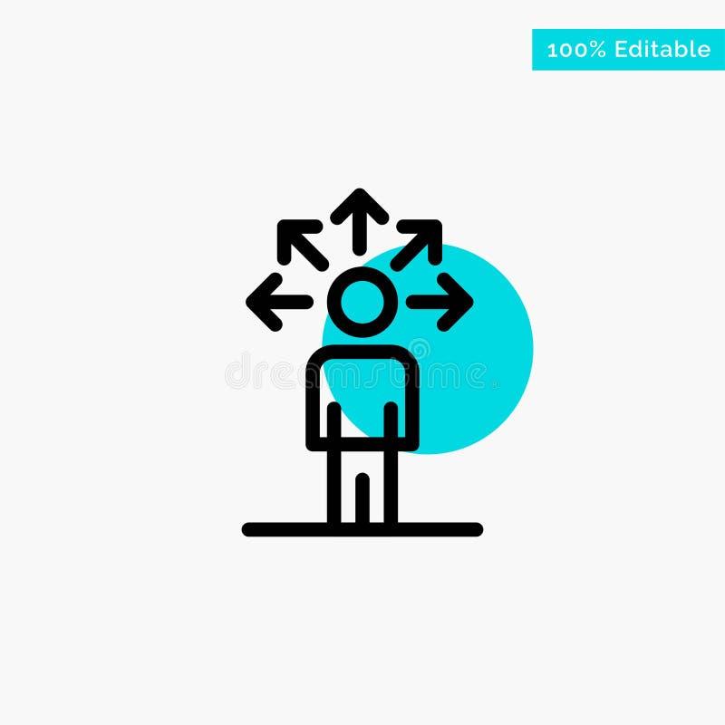 Komunikacja, zdolność, związek, Ludzka turkusowa główna atrakcja okręgu punktu wektoru ikona ilustracji