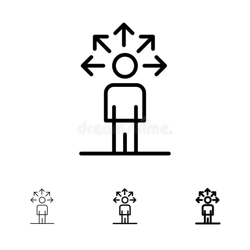 Komunikacja, zdolność, związek, Ludzki czerni linii ikony set, Śmiały i cienki ilustracji