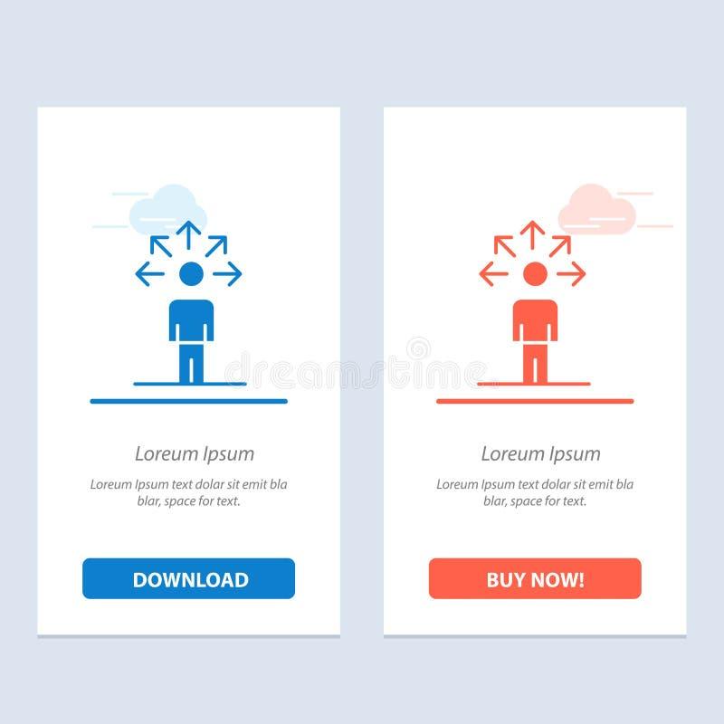 Komunikacja, zdolność, związek, Ludzki sieci Widget karty szablon, Błękitnej, Czerwonej i Teraz ściągania i zakupu royalty ilustracja