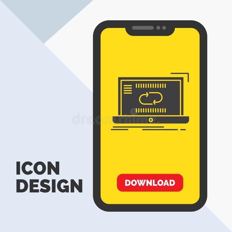 Komunikacja, związek, połączenie, synchronizacja, synchronizacja glifu ikona w wiszącej ozdobie dla ściąganie strony ? ilustracji