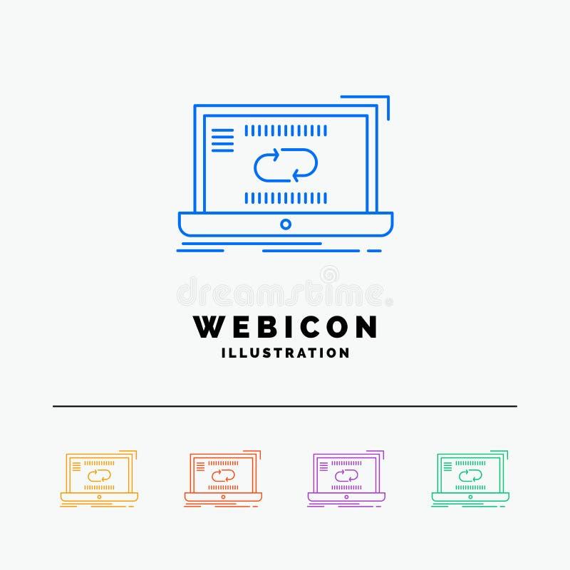 Komunikacja, związek, połączenie, synchronizacja, synchronizacji 5 koloru linii sieci ikony szablon odizolowywający na bielu r?wn ilustracja wektor